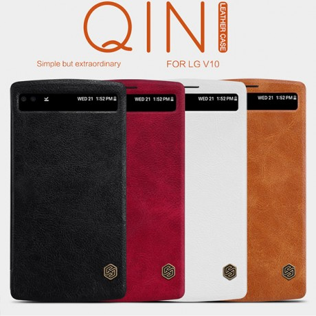 کیف چرم هوشمند LG V10 برند NILLKIN مدل QIN LEATHER CASE
